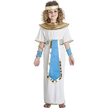 Disfraz de Faraona Egipcia blanco y azul para niña: Amazon.es ...