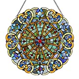 River of Goods Webbed Hearts Medallion 22' H Stained Glass Round Window Panel Blue, Green Red Purple