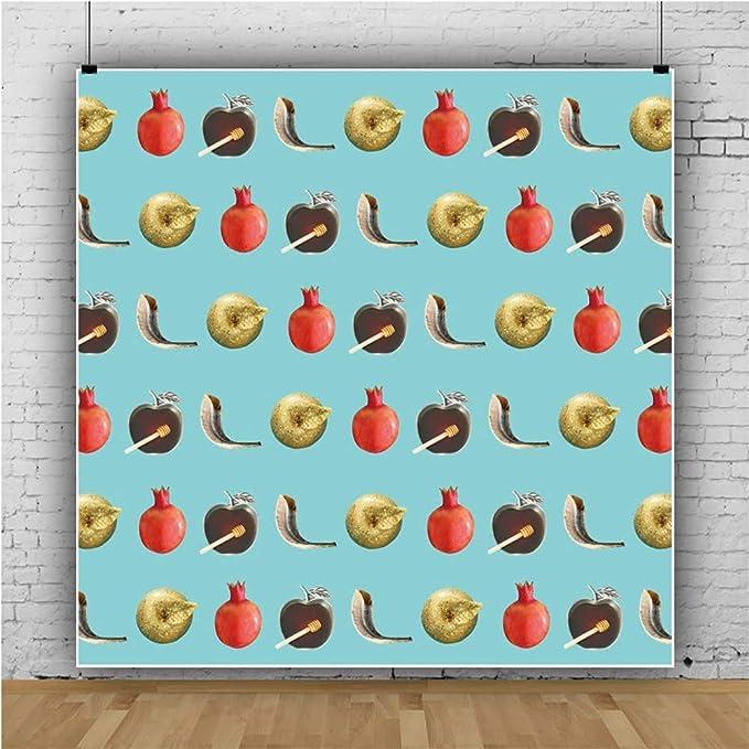Leowefowa Rosh Hashanah Backdrop 6x6ft Full Frame Apple Pomegranates Honey Dip Shofar Still Life Blue Vinyl Photography Background Jewish Fiesta Traditional Festival Party Banner Studio