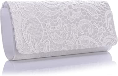 J&G Damen Floral Flower Lace Satin Evening Party Handtasche Purse Clutch Prom Bag Weiß