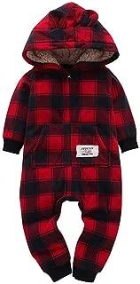 Baby Boys Girls Thicker Grid Fleece Rompers Jumpsuit Hooded Pocket Bobysuit Pajamas