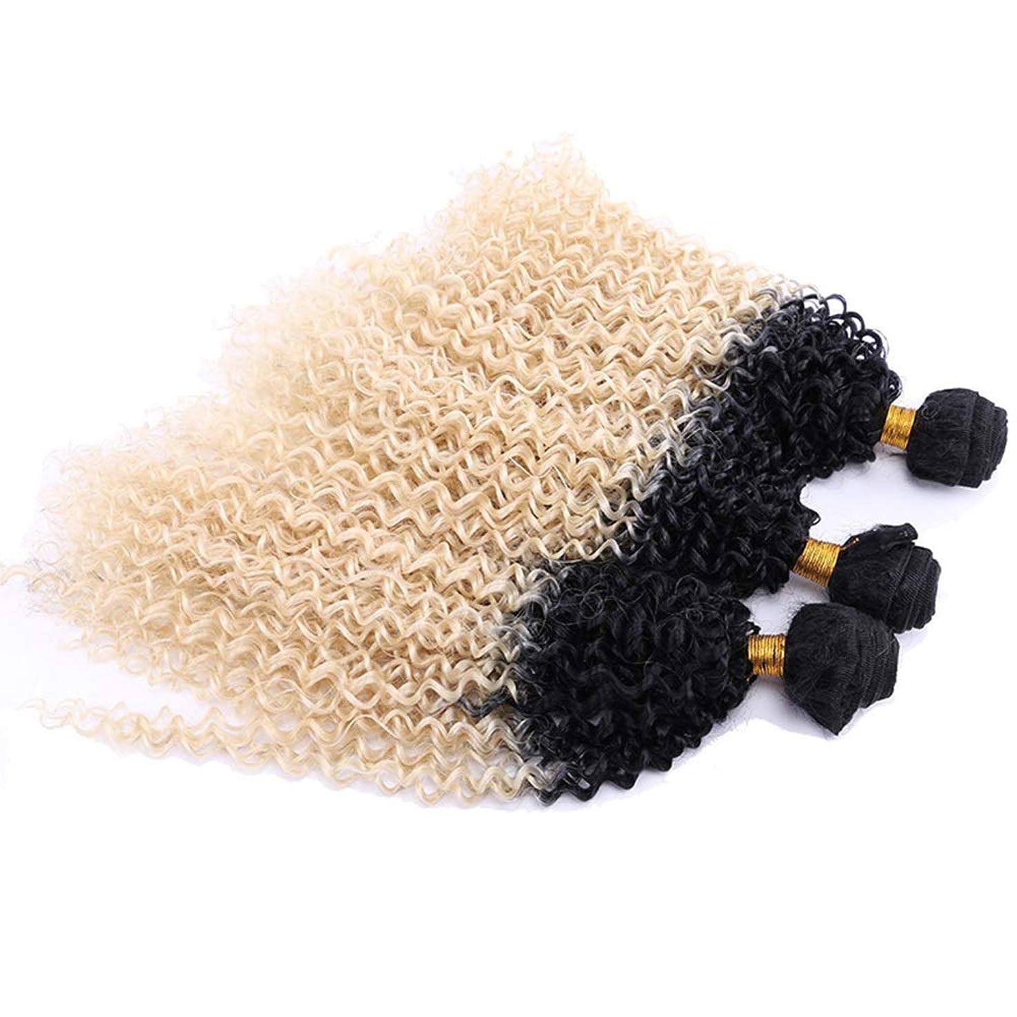 バッジ山遡るYrattary ブロンドウェーブヘア3バンドルブラジル髪の小さなカール女性のための耐熱性繊維合成毛髪のかつらロールプレイングウィッグロングとショートの女性自然 (色 : Blonde, サイズ : 24inch)