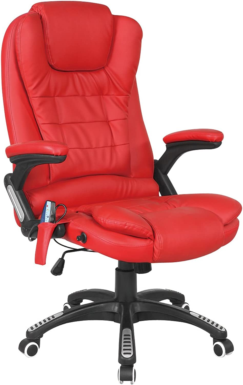 WestWood Luxury Leather 6 Point Massage Office Computer Chair Reclining High Back Red New