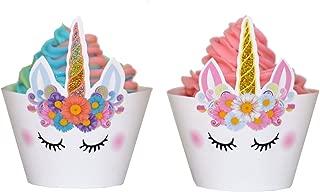 Set of 24 Premium Sparkle Unicorn Cupcake Wrappers, Cute Unicorn Birthday Party Glitter Cupcake Design Perfect for Girl's Birthday Party, Unicorn-Themed Birthday Party, Easy DIY Unicorn Cupcakes