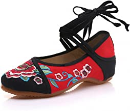 Women Flats Old Peking Floral Embroidery Shoes Chinese Lace Up Casual Soft Sole Comfortable Dance Ballet Shoes Plus Size 41