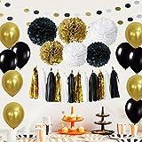 61 Stück Partei Dekorationen, Cocodeko Pompoms Blumen, Spiral Girlanden, Quasten Girlande, Polka Dot Papier Girlande und Luftballon für Geburtstag Parteien Hauptdekorationen - Schwarz, Gold und Silber - 4