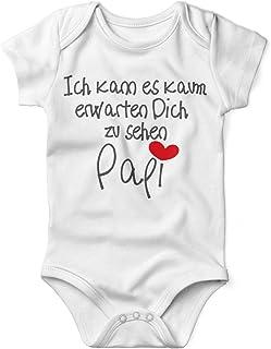 Mikalino Babybody mit Spruch für Jungen Mädchen Unisex kurzarm Ich kann es kaum erwarten Dich zu sehen Papi | handbedruckt in Deutschland | Handmade with love