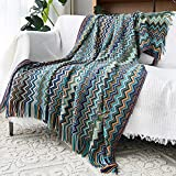 MEIQB Home Soft Things Knitted Tweed Throw Couch Cover Blanket Tassel Color Soft Knitted Blankets (Blue, 51' x 67')