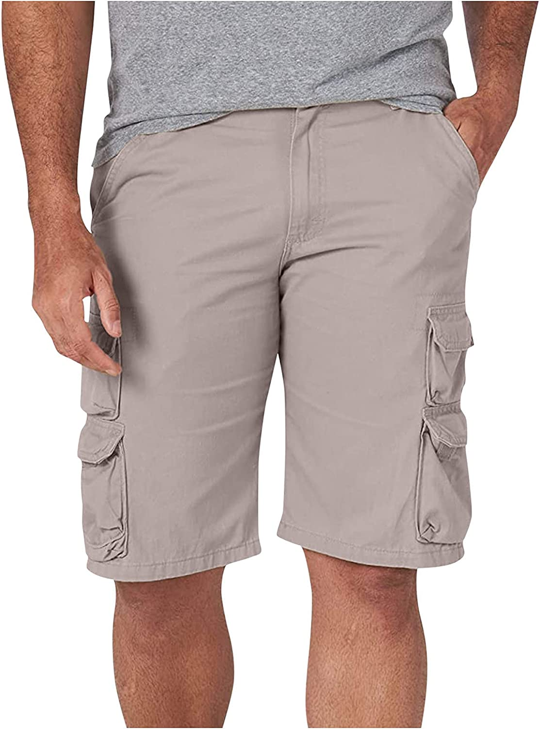 XUNFUN Mens Cargo Shorts Relaxed Fit Multi-Pocket Comfy Outdoor Loose Workout Summer Shorts Twill Cotton Tactical Shorts
