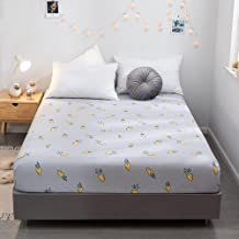 Breathable Mattress Protector,Pure Cotton Printed Stylish Bed Linen,Double King-Size Protective Cover for Apartment Bedroo...