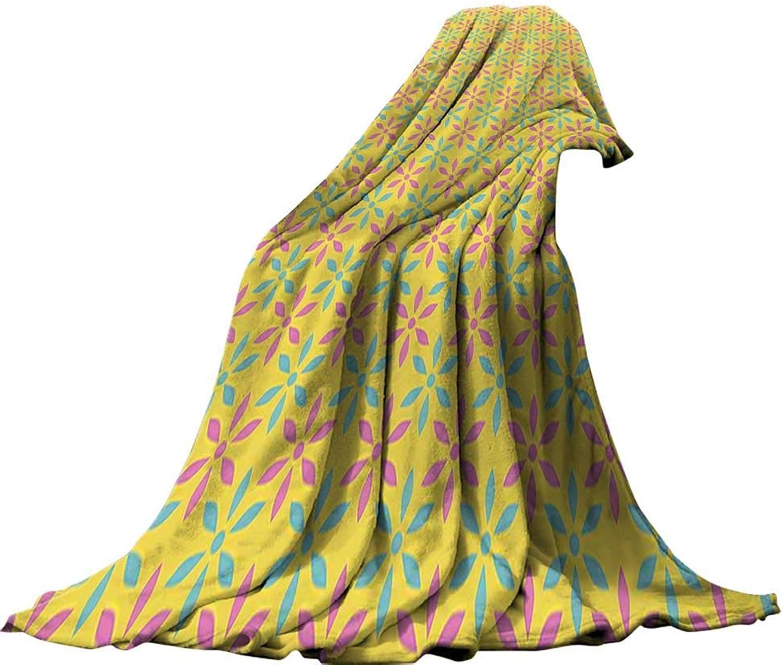 QINYAN-Home Super Soft Lightweight Blanket (60 x36  Summer Quilt Comforter Modern Nostalgic Polka Dots Triangles in Various Tones Embellished Pattern Seafoam Yellow Baby Pink.