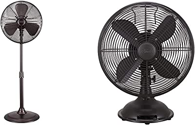 "Hunter 90439 16"" RETRO Stand Fan with Onyx Copper Finish & 12"" Retro Table Fan in Oil-Rubbed Bronze"