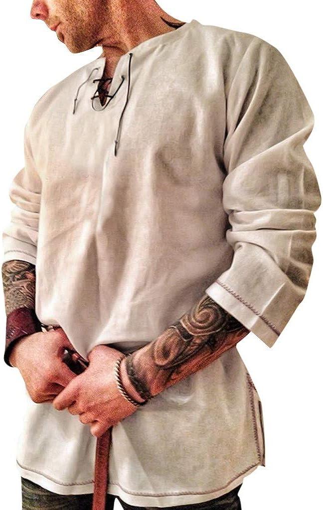 WUAI-Men Cotton Linen Henley Shirts Long Sleeve Loose Fit Beach Yoga Tops Blouses(Khaki,US Size M = Tag L)