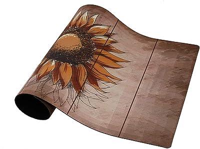 """Rubber Welcome Door Mat, Decorative Indoor Outdoor Doormat Non Slip Front Door Mat, Easy to Clean Low Profile Mat for Entry Patio Garage High Traffic Areas, 17.3"""" x 29"""" (Artistic Sunflower)"""
