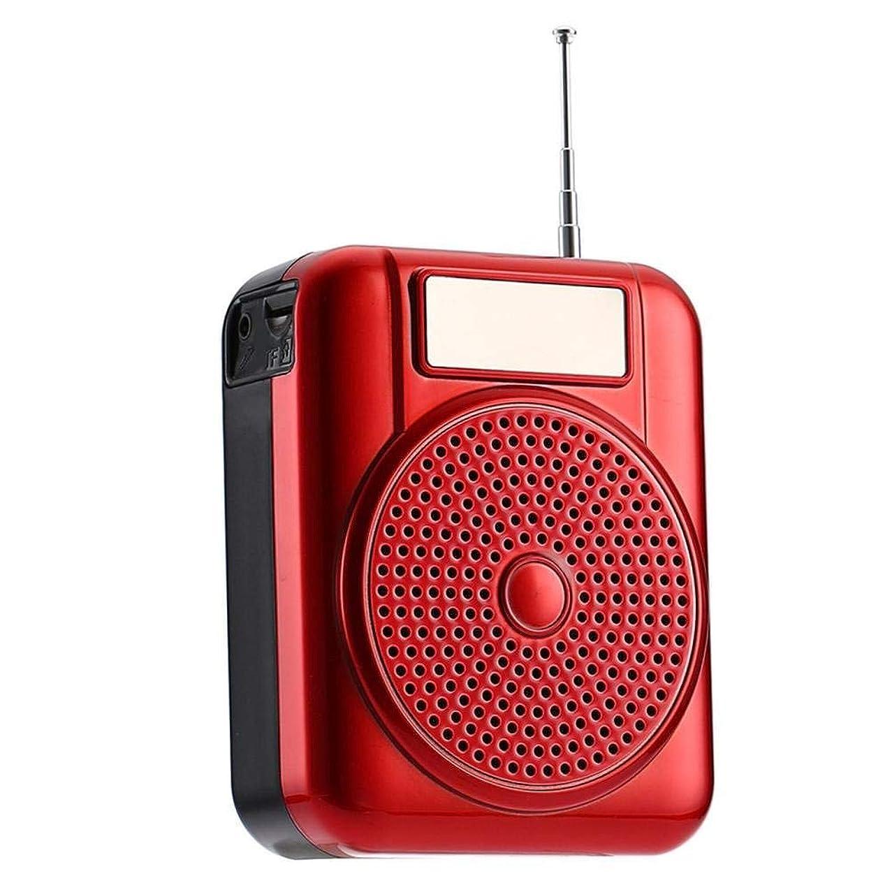 MDQ L63 多機能 AM FMポケットラジオ ポータブル FM AM SD AUX MP3ラジオ ポータブルラジオスピーカースピーカーアンプスピーカー (レッド)