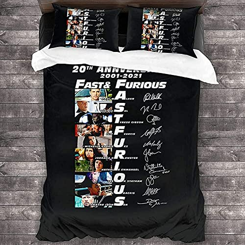 Fast und Furious Bettwäsche + Kissenbezug,Fanartikel Fast and Furious Auto Racing,Teenager-Bettwäsche,Hobbs & Shaw Bettbezüge. (Fast2, 135x200cm)