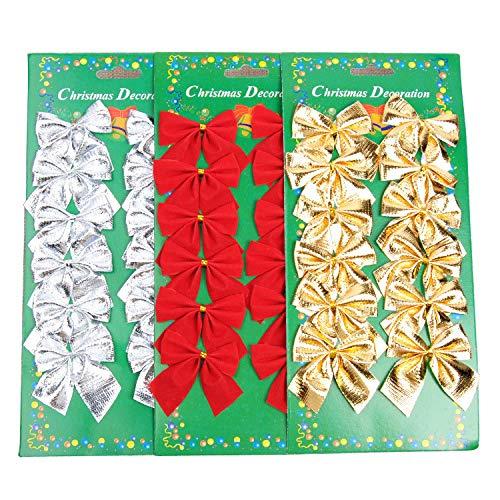 Shisi 36pcs mini fiocchi 5cm albero di Natale, decorazione da appendere ornamenti di Natale, rosso, oro, Andsilver