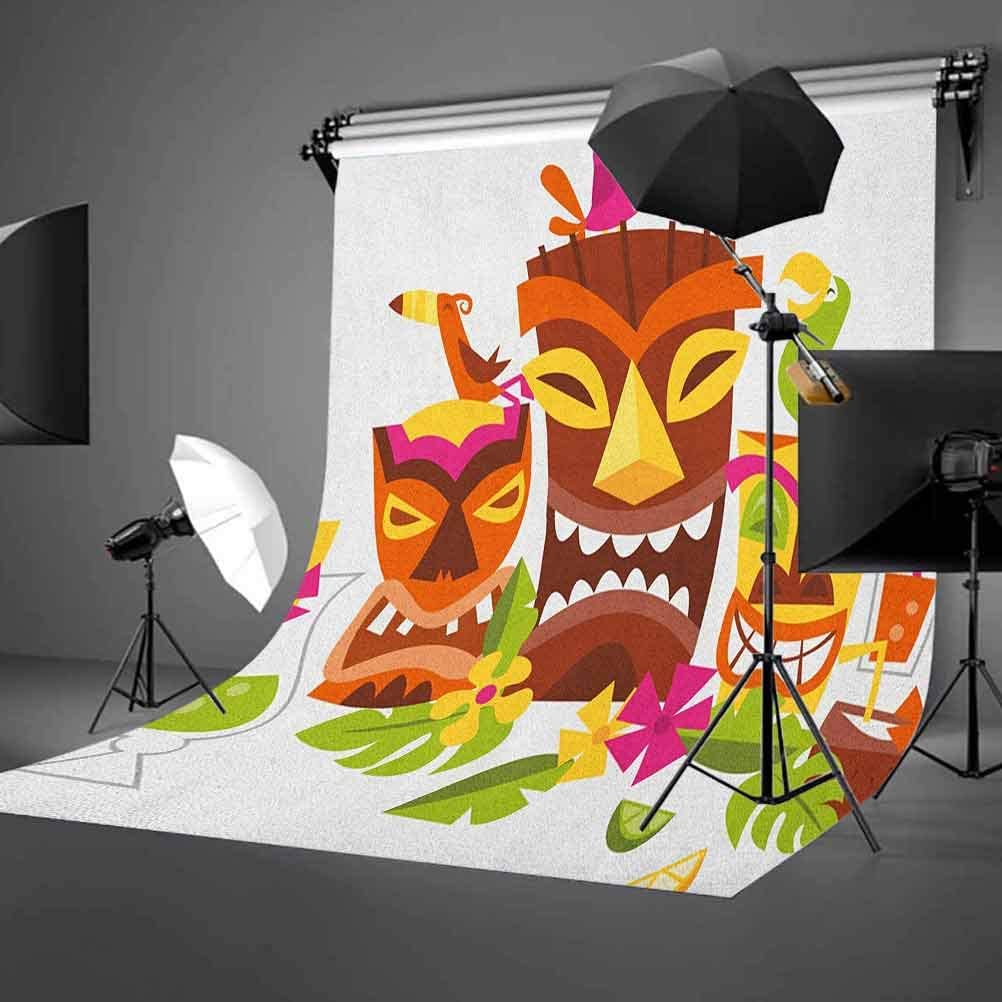 8x12 FT Luau Vinyl Photography Background Backdrops,Three Grimacing Tiki Party Masks Surrounded by Leaves Drinks and Cute Toucan Birds Background Newborn Baby Portrait Photo Studio Photobooth Props