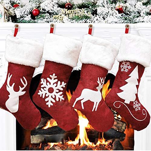 SCCS Weihnachtssocken Aufhaengen Weihnachtsstrumpf Kamin Stricken Weihnachtsdekoration Rentier Stricken weihnachtsbaumschmuck Zum Befuellen Gross 4er Set 2020 (4er Set, Gross)