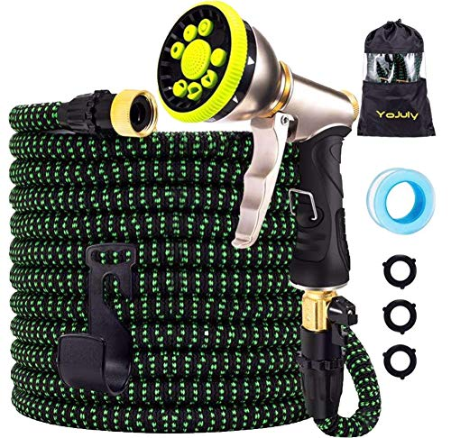 YOJULY Garden Hose-100ft Expandable Hose, Leakproof Lightweight Garden Water Hose-No Kink Tangle-Free Pocket Water Hose, High Pressure Water Spray Nozzle