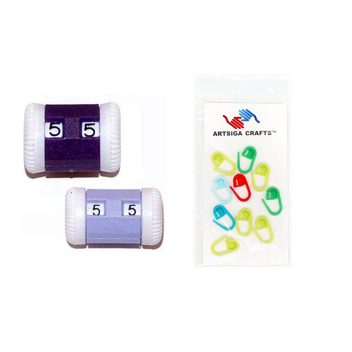 addi Rotally Row Counter Set of 2 Bundle with 10 Artsiga Crafts Stitch Markers