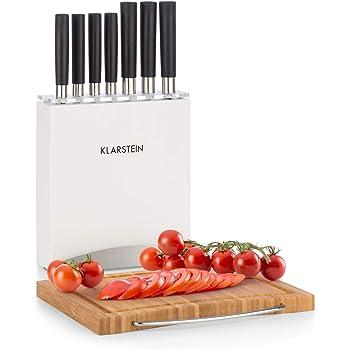Klarstein Kitano Plus Messer-Set - 9 tlg. Set mit Holzblock und Bambus-Schneidebrett, 7 Präzisionsklingen im japanischen Design, weiß