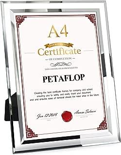 PETAFLOP A4 Glass Document Frame 21 x 29.7 cm Diploma Graduation Certificate Frame, Silver Border