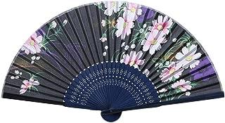 Folding Fan Vibola Floral Folding Hand Fan Vintage Handheld Folding Fan with Different Flower Patterns Fabric Folding Fan for Wedding Dancing Party (B)