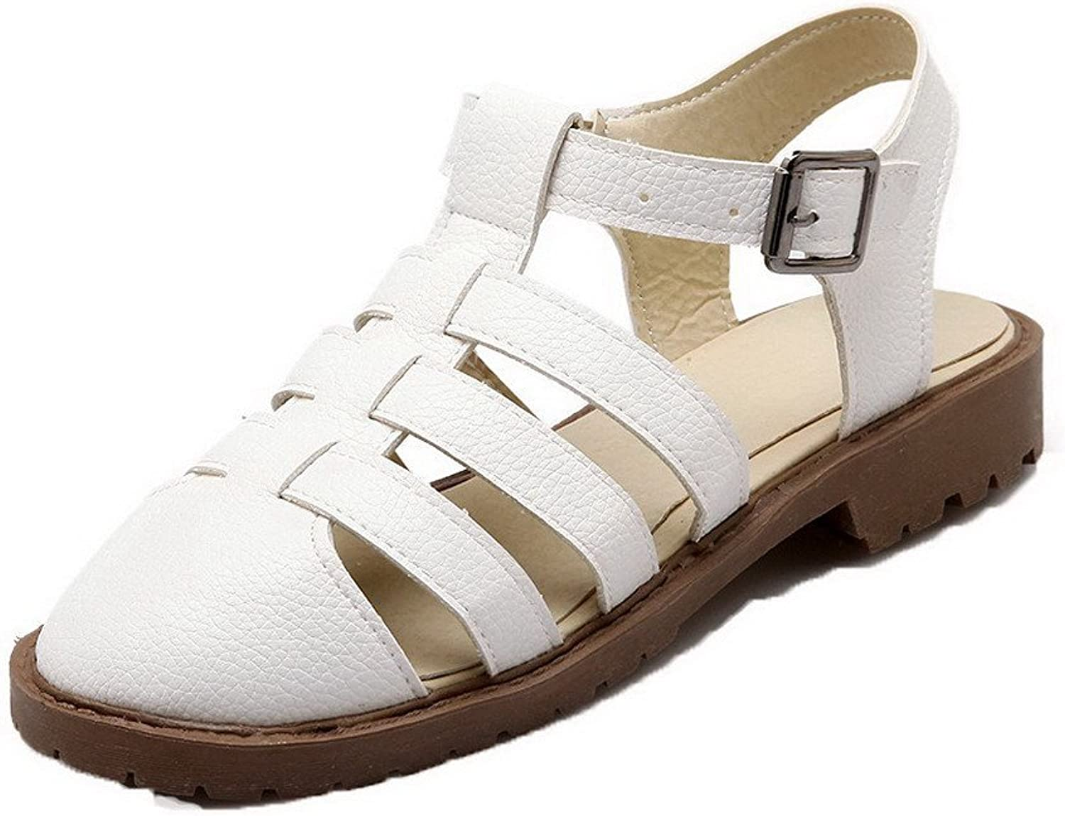 WeiPoot Women's Round Closed Toe Buckle Pu Solid Low-Heels Sandals