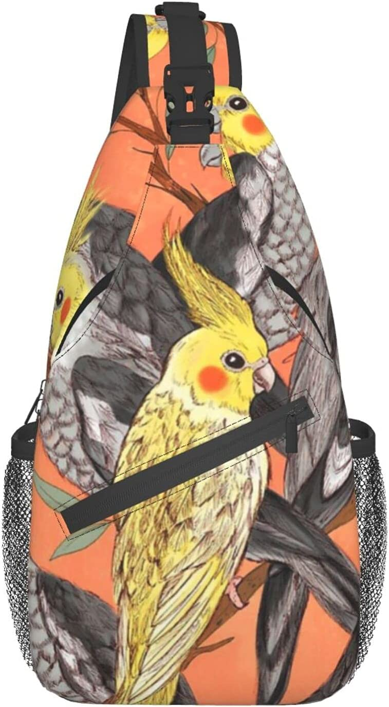 Cockatiel Fun chest bag diagonally Travel Super sale period limited Backpack Sling Award-winning store Hiking