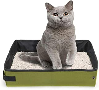 Hamkaw Folding Cat Litter Box, Collapsible Cat Litter Tray for Travel Cat Litter Pan Portable Waterproof Soft Comfortable Cat Litter Carrier, Light Weight and Easy Cleaning