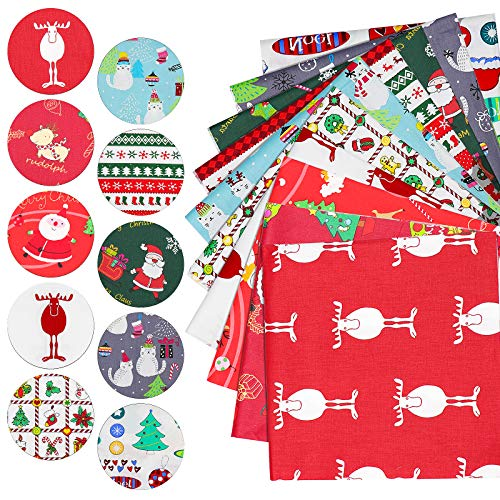 Dreamtop 10Pcs Christmas Cotton Fabric,50 x 50cm Square Sewing Precut Patchwork Printed Fabric Scraps Cotton for DIY Sewing Crafts Decorations Christmas