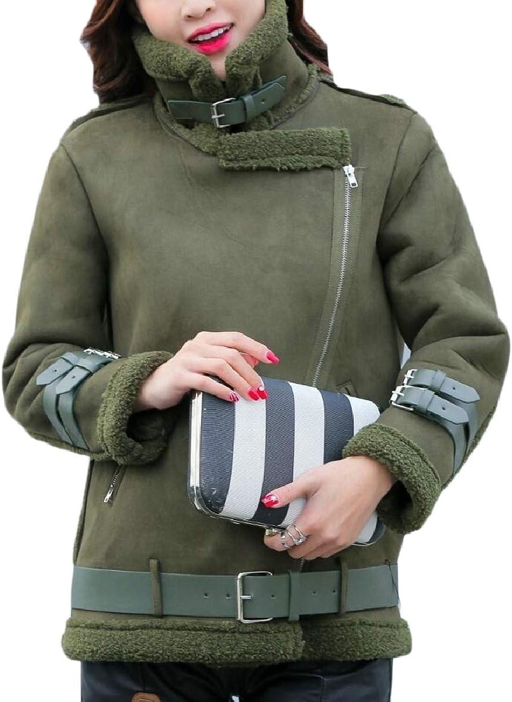 LEISHOP Women's Thick Fleece Oblique Zip Winter Trucker FauxSuede Jackets
