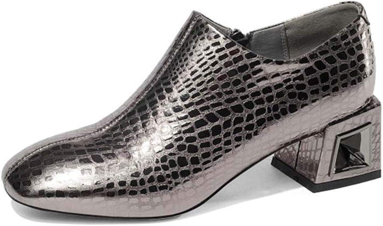 Women's Leather high Heels, Round Head Side Zip Metal Jewelry mid Heel Oxford shoes