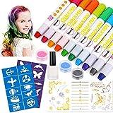 HOWAF 10 colores Set de tiza para el cabello,Tinte para el cabello plumas de tiza para el cabello, plumas de tinte para el cabello - Funciona en todos los colores del cabello