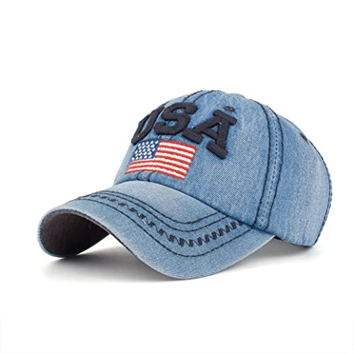 4cf5dd55 Moginp Adjustable Baseball Caps, Peaked Women Men USA Denim Rhinestone Golf Caps  Snapback Casual Hip
