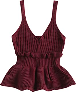 Womens Sleeveless Frilled Openwork Sweater Vest V Neck Knitted Pullover Crop Tops