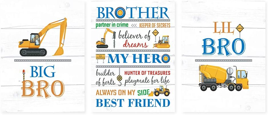 Transportation Brothers Quote Wall Art,Colorful Inspirational Art Print,Construction Trucks Canvas Poster Set Of 3(12''X16'', Unframed),Cartoon Vehicles Sign For Boy's Playroom, Bedroom Decor