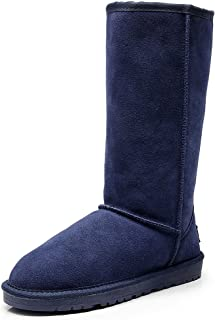Women's Classic Tall Winter Warm Suede Leather Snow Boots