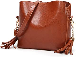 Sturdy Handbag Adjustable Shoulder Strap Messenger Handbag Women's Retro Bucket Handbag Solid Color Fashion Tassel PU Shoulder Handbag Large Capacity (Color : Brown)
