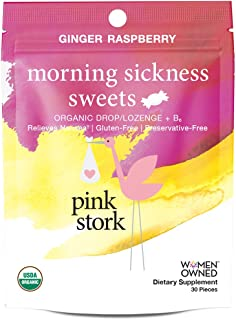 Pink Stork Morning Sickness Sweets: Ginger Raspberry Flavor, USDA Organic Hard Lozenges + Vitamin B6 -Relieves Nausea, Gluten-Free, Non-GMO and Preservative Free, -30 Individually Wrapped Sweets