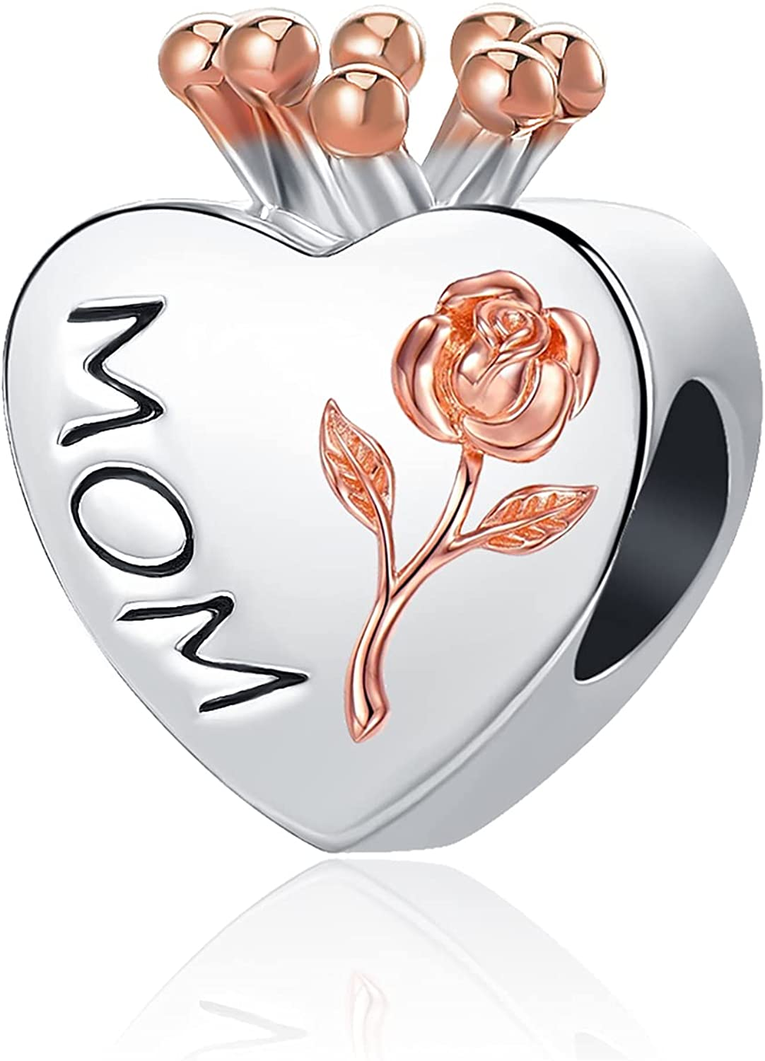 NanMuc Rose Gold Heart Mom I Love You Forever Crown Women's Jewelry Charms for Bracelets for Mother