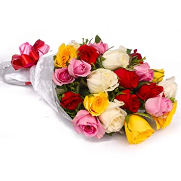 Valentine S Fresh Multi Colored Roses Flower Bouquet Bunch Of 40 Roses Amazon In Home Kitchen