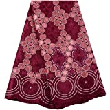 African Fabric Swiss Voile Laces in Switzerland Nigerian Laces Fabrics African French Tull Laces Fabric for Wedding Dress (Color : WineRed)