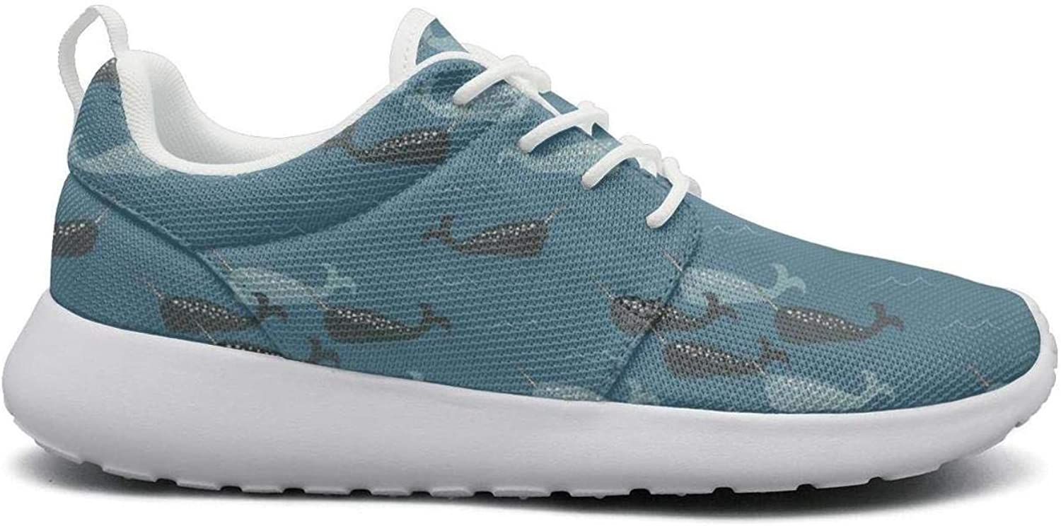 Gjsonmv Cute Narwhal Whale bluee Sea mesh Lightweight shoes for Women lace up Sports Trail Running Sneakers shoes