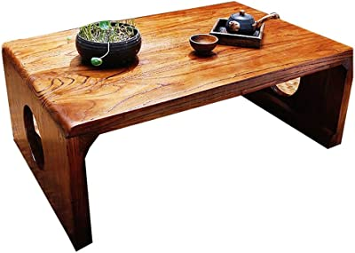 Solid Wood Coffee Table Balcony Tea Table Bay Window Table Low Table Carpet Coffee Table Living Room Corner Table Coffee Table Side Table Laptop Table (Color : Brown, Size : 60 * 40 * 30cm)