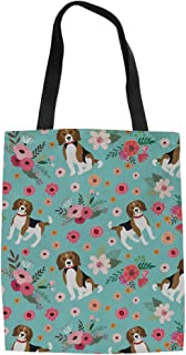 Dreaweet Girls Flower Dog Cotton Reusable Canvas Tote Shopping Grocery Bag Cat Owl