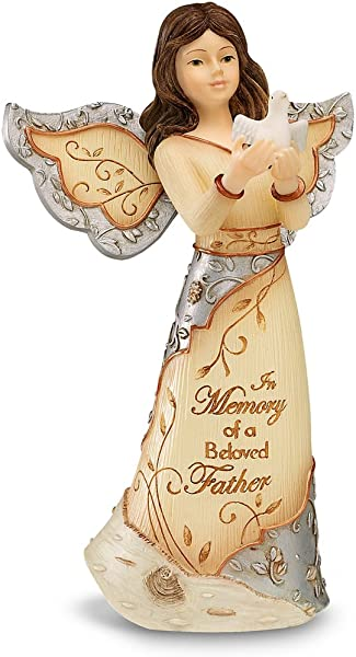 Elements Beloved Father Angel Figurine By Pavilion 5 Inch Holding Dove Inscription In Memory Of A Beloved Father