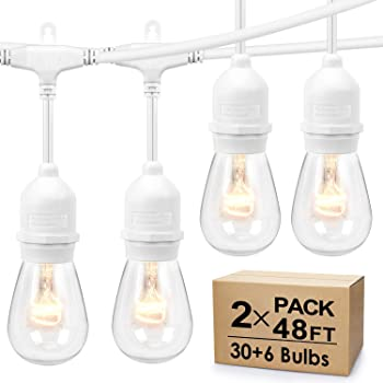 2-Pack Dimmable Outdoor String Lights for Patio, Waterproof Hanging Vintage 11W Edison Bulbs, 48Ft Commercial Lights String Perfect for Cafe Bistro Backyard Pergola, Blk- White Cord, (Total 96ft)