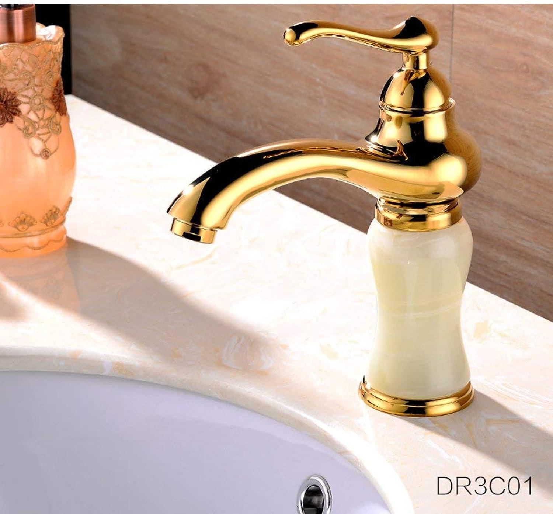 Oudan Full coppper antique faucet Hot and cold continental basin mixer Bathroom vanity washbasin faucet gold-B (color   -, Size   -)